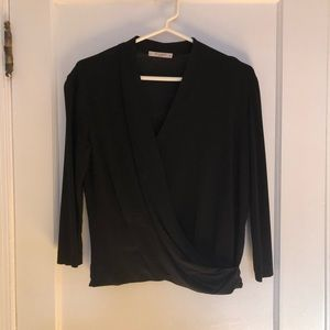 Ann Taylor Navy Tie Front Top, Size L